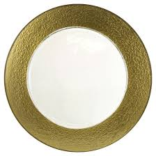 10 strawberry colored glass charger plates gold set