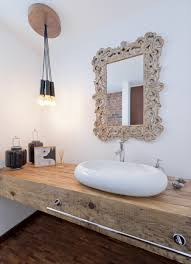 Modern Bathroom Design With Vintage Mirror Frame And Rustic