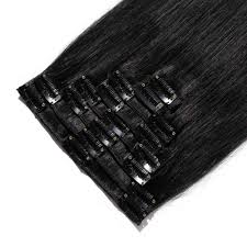 Uzbekistan Hair Extensions by 8 Pcs Straight Clip In Remy Hair Extensions 1 Dark Black