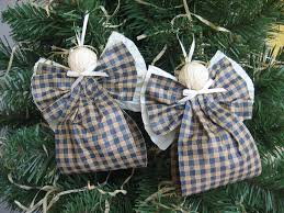 angel christmas ornaments blue and kraft plaid paper ribbon angel