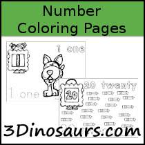 free number coloring pages 3 dinosaurs