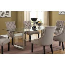 glass dining room table and chairs glass kitchen dining tables you ll love wayfair