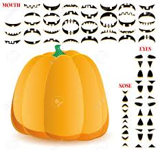 halloween pumpkin with big set of mouths eyes and noses for