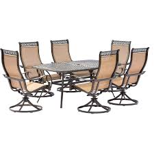 Patio Dining Set 7 Piece - manor 7 piece outdoor dining set with six swivel rockers and a