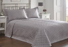 Grey Quilted Bedspread King Size Bed Regent Silver Bedspread Set Throw Over U0026 Pillow