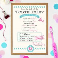 tooth fairy gift personalised tooth fairy certificate by eskimo designs