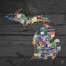 Michigan Counties Map Michigan Counties State License Plate Map On Gray Wood Mixed Media
