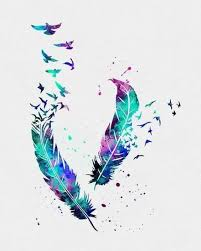 collection of 25 and feather tattoos print