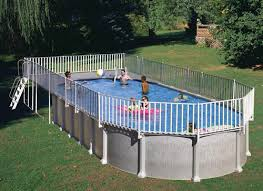 oval above ground pool with end deck and fence u2013 above ground