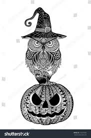 owl magic witch hat sitting on stock vector 712597903 shutterstock