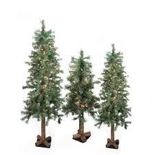 amazon com set of 3 pre lit woodland alpine artificial christmas