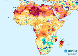 Gabon Map Africa Water Deficits Forecast Across The North Somalia Gabon