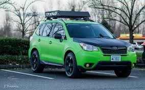 Subaru Forester 2014 Roof Rack by Sj Foz Wrapped In Bright Green Vinyl With An Aluminum Roof Rack