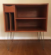 Record Storage Cabinet Modern Teak Media Center With Drawer And Album Storage Epoch