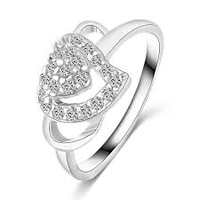 rings with love images Fashion white gold color jewelry love rings heart design female jpg