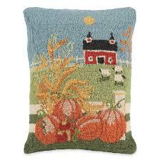 autumn cornstalk and pumpkins hooked wool pillows sturbridge