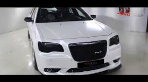 chrysler car white car wrap dubai chrysler srt wrapped in white pearl semi matt