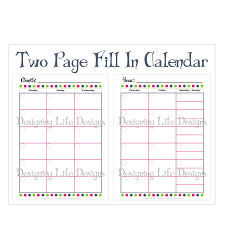 7 best images of 2 page calendar template 2015 printable 2 page
