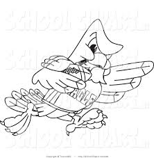 clip art of a coloring page of a bald eagle hawk or falcon