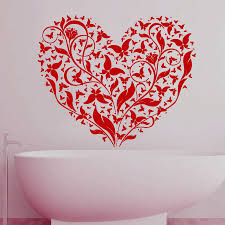 flowers and butterflies red heart wall decals art vinyl removable flowers and butterflies red heart wall decals art vinyl removable home decor bathroom tile wall sticker