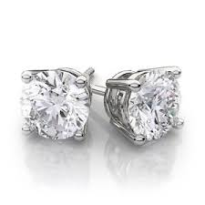 1 50 carat white brilliant gold diamond stud