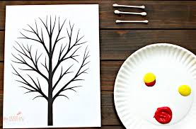 q tip fall tree for preschoolers