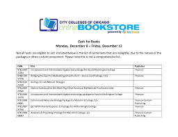 cash for books monday december 8 u2013 friday december 12