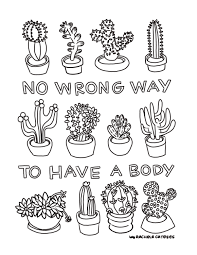 Printable Coloring Book Page No Wrong Way to Have a Body