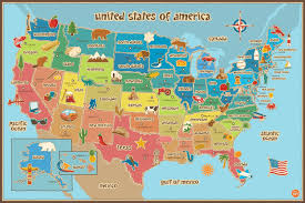 Map Of The United States For Children kids map of america dry erase wall decal large 36 x 24