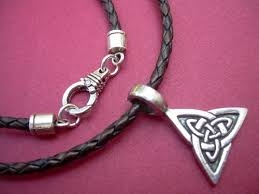 leather necklace with pendants images Leather necklace celtic triangle mens necklace mens jewelry jpg