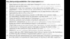 Sales Supervisor Job Description Resume Cover Letter Marketing Supervisor Job Description Sales Marketing