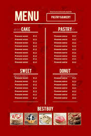 free word menu templates bakery menu template 30 free word psd pdf eps indesign