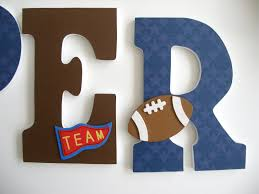 Soccer Crib Bedding by Hanging Wooden Letters Sports Theme Baseball Football