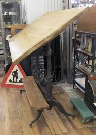 Keuffel Esser Drafting Table 1890s Cast Iron Victorian Adjustable Tilting Drafting Table With