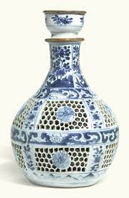 28 Light Blue And White A Chinese Blue And White Reticulated Hookah Base Qing Dynasty