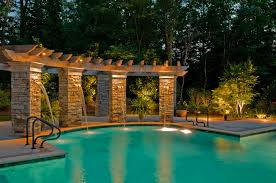pool area ideas amazing outdoor lighting around pool nytexas