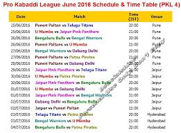 bpl 2017 schedule time table learn new things pro kabaddi league pkl 4 june 2016 schedule time