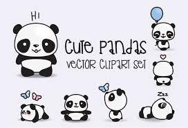 Panda Nursery Decor by Premium Vector Clipart Kawaii Pandas Cute Pandas Clipart