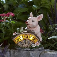 solar welcome pig outdoor living outdoor decor lawn