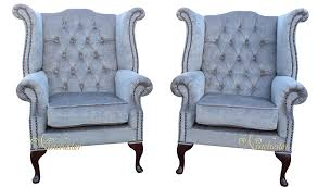 Grey Fabric Chesterfield Sofa by Chesterfield Offer Pair Fabric Queen Anne High Back Wing Chairs