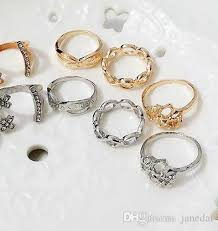 heart style rings images Jewelry ring five suit hollow out rings heart shaped ring opening jpg