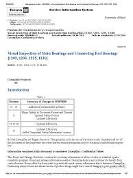 sebf8009 visual inspection of main bearings and connecting rod
