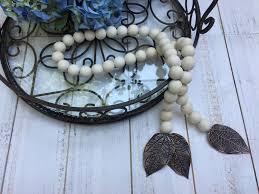 wood decor bead garland with metal leaf home decor farmhouse