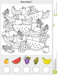 count and painting color the fruits stock vector image 93423654