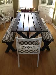 How To Make A Picnic Table Bench Cover by Refinished Picnic Table With Chevron Seat Covers