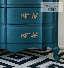 Dixie Bedroom Furniture Painted Peacock Blue Dresser Makeover Thirty Eighth Street