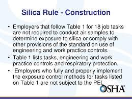 osha silica rule table 1 osha update 10 2016