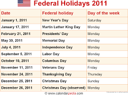 what day was thanksgiving in 2011 federal holidays 2011