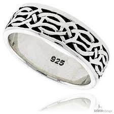fenian ring sterling silver celtic knot wedding band thumb ring 5 16 in wide