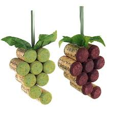 wooden cork grapes christmas ornaments 4 inch 2 piece cork